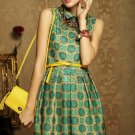 New Fashion Retro Girl Lady Peter Pan Collar Geometric Print Mini Dress W/ Belt