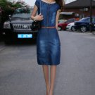 European Fashion Women Girl Cowboy Denim Sleeveless Slim Waist Dress With Belt