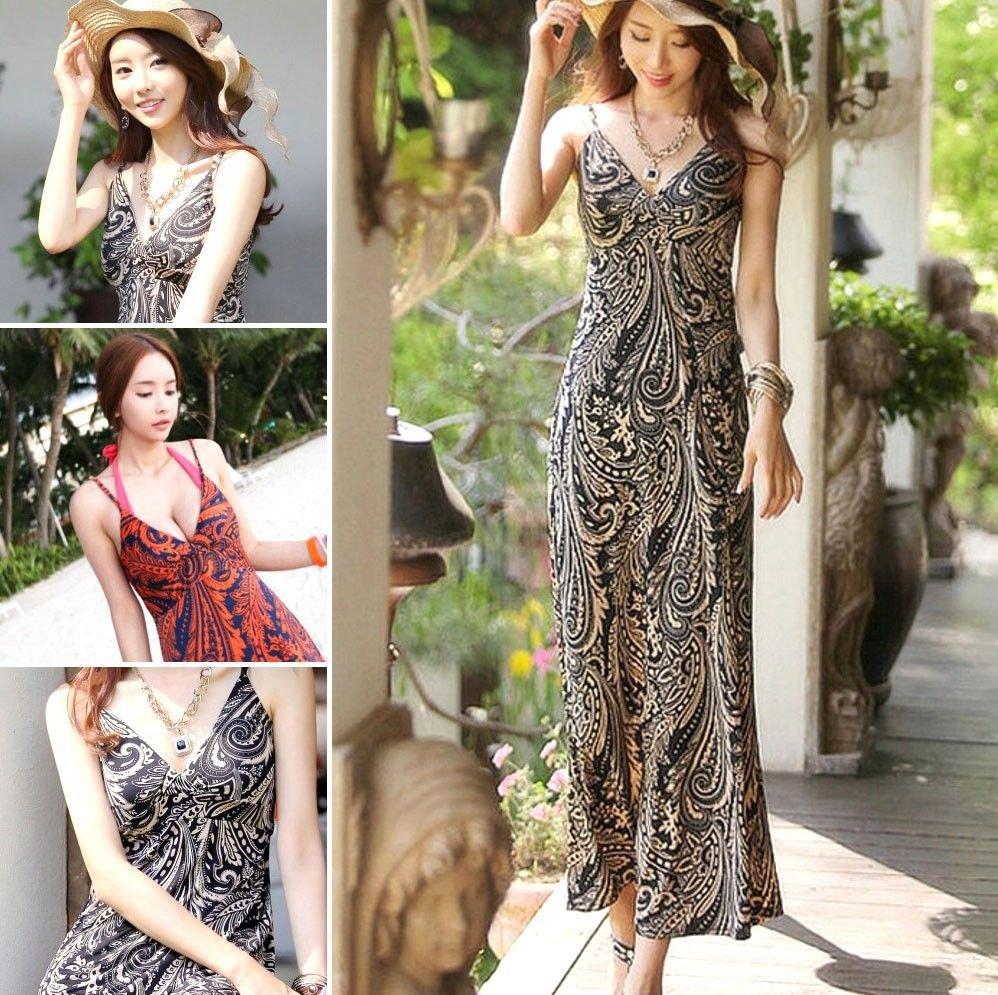 Summer Women Meryl Floral V Neck Beach Boho Bohemia Maxi Sundress Long Dress
