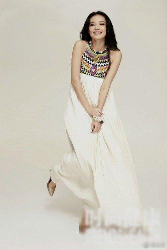 Women Indian Style Ethnic Printed Bohemia Sleeveless Pleated Stitching Chiffon Dress