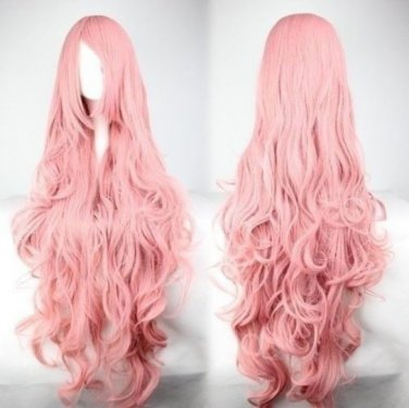 """40"""" Long Curly Wave Pink Wig High Quality Costume Full Hair Cosplay Wigs"""