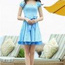 Blue Pattern Print Bow Waist Pleated Retro Lace One Piece Dress