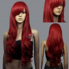 Dark Red Curly wavy Long hair Cosplay Wig High Temp DNA Wigs