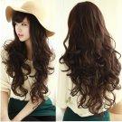 Smile Girl Party Dark Brown Wig Women Deep Wavy Curly Long Hair Full Wigs