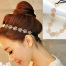 Vintage Lovely Metallic Lady Hollow Rose Flower Elastic Hair Band Headband Head Band