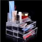 Crystal Drawer Cosmetic Case Organizer Lipstick Jewelry Makeup Brush Storage Box