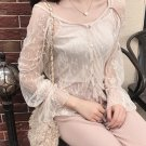 Beautiful Attractive Light Apricot Lace See Through Lady Blouse Top Strap Sling