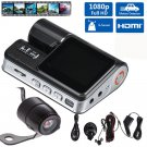 170 Degree Car DVR Dash Cam Recorder 1080p LED Night Vision G sensor Rear Camera