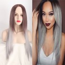 Women's Long Straight Full Wig Heat Resistant Hair Brown Ombre Grey Party Wigs