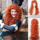 Brave Merida Long Wig Curly Wavy Orange Hair Heat Resistant Women Cosplay Wigs