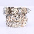 Attractive Shiny Rhinestone Crystal Studded Belt Women Leather Bling Waistband