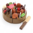 Kids Kid Wooden Chocolate Birthday Set Playset Chopped Cake Decoration Party Toy