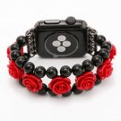 38 42 mm Band Width Women Girl Black Agate carved Watch Strap For Apple Watch