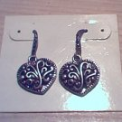 SIlver Marcasite Heart Shaped Earrings