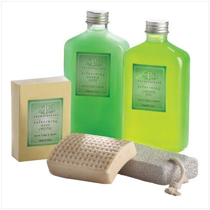 SPA LIME/MINT SET IN BASKET