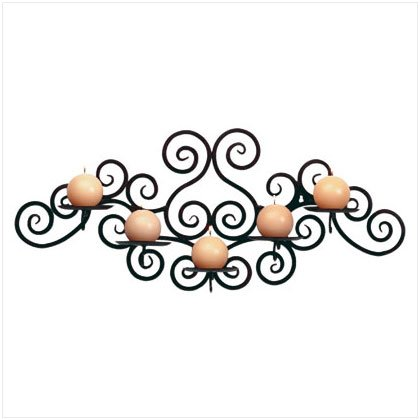 WROUGHT IRON 5 WALL CANDLEHLDR