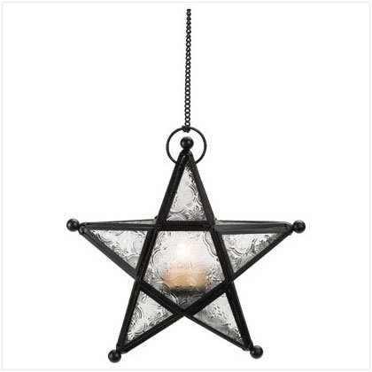 MOROCCAN METAL STAR GLASS T-LITE HODER