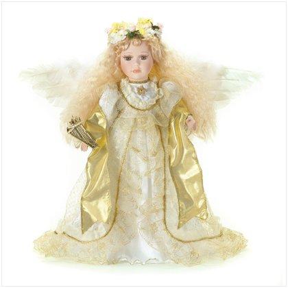 "16"" PORCELAIN ANGEL W/HARP"