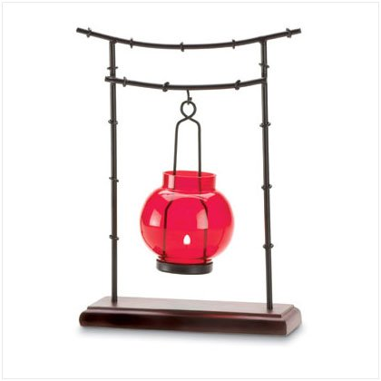 RED GLASS CANDLEHOLDER/METAL STAND