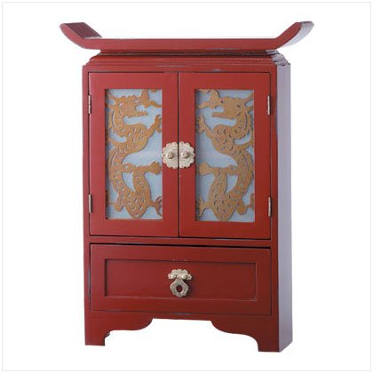 RED PAINT WOOD DRAGON CABINET