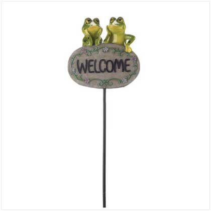 FROG WELCOME SIGN - POLYRESIN