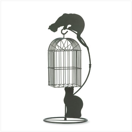 METAL CAT BIRDCAGE PLANTER