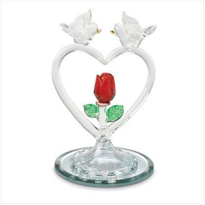 GLASS DOVES ON HEART W/ROSE