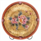 ROSES GLASS PLATE/METAL STAND