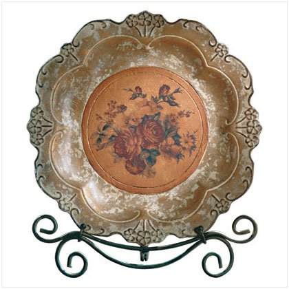 ANTIQUE ROSES PLATE/METAL STAND