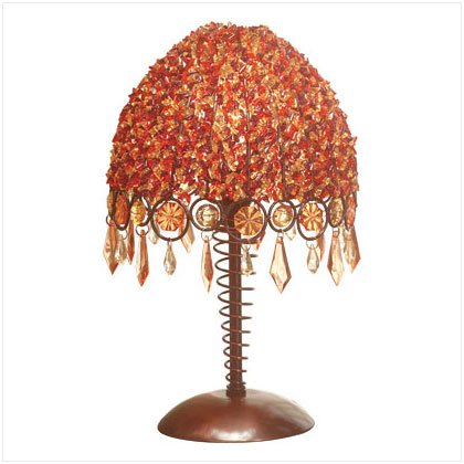 ORANGE RED BEAD SHADE LAMP