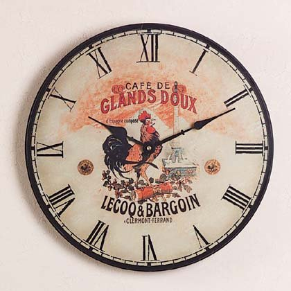 WOOD ROOSTER WALL CLOCK-1