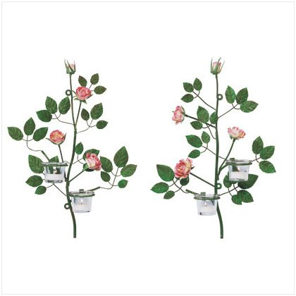 PAIR DISTRESS GREEN ROSE WALL SCONCE