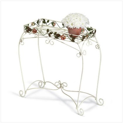 METAL ROSES/LEAVES PLANT STAND