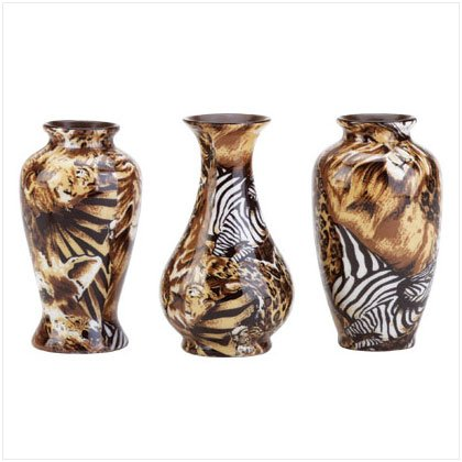 3PC PTCHWRK MINI VASES-SAFARI