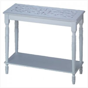 DISTRESS WHITE WOOD HALL TABLE-2