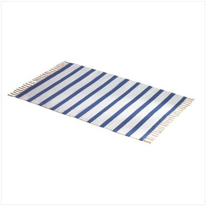 BLUE AND WHITE CUT SHUTTLE RUG
