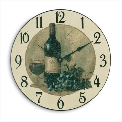 WOOD WINE AND GRAPES CLOCK