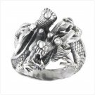 TWO DRAGONS SILVER RING