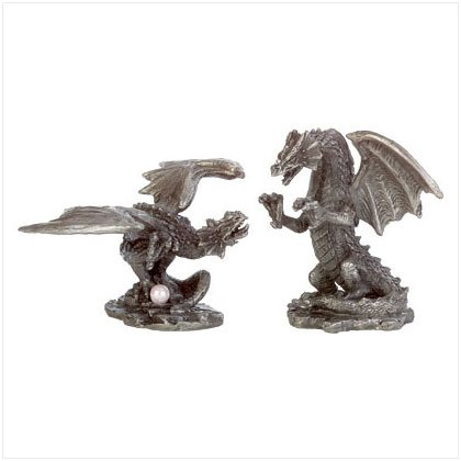 PAIR OF PEWTER DRAGON