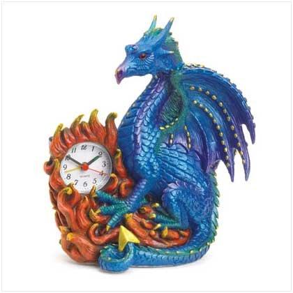 BLUE DRAGON CLOCK - POLYRESIN