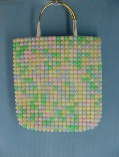 Vintage Huge Gumball Look Beaded Tote Handbag