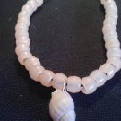 "10"" handcrafted seashell ankle bracelet with coral colored pony beads"