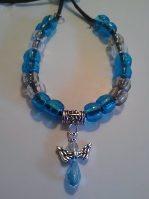 handcrafted blue glass bead angel necklace w/ blue & clear pony beads