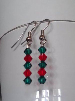 pair of swarovski element christmas earrings on surgical steel hooks