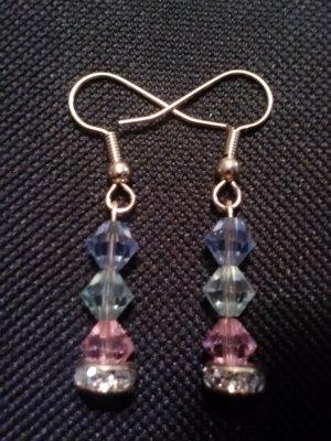 handmade red, blue, green swarovski element and crystal rondelle earrings
