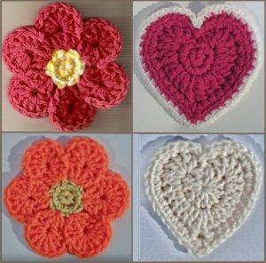 Flower & Heart Coasters & Hot Pads Crochet Patterns PDF File #2320