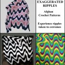 Three (3) Exaggerated Ripple Afghan Crochet Patterns #001e