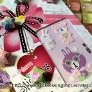 Rabbit Bear reading book Baby Pink Warm Sticker Kingdom