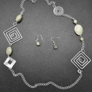 White and silver square swirl necklace and earring set