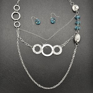 Turquoise & silver necklace and earring set!!